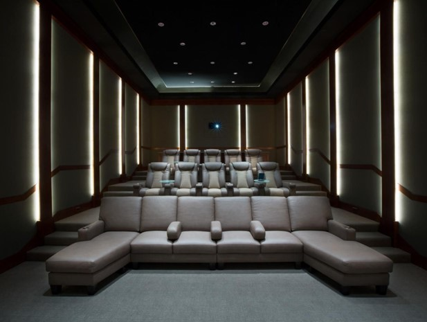 Spaceship-like Theme Basement Home Theater Ideas
