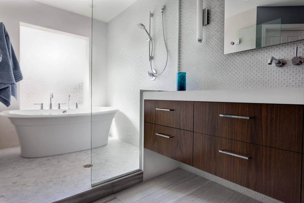 Frosted Glass Modern Master Bathroom renovation