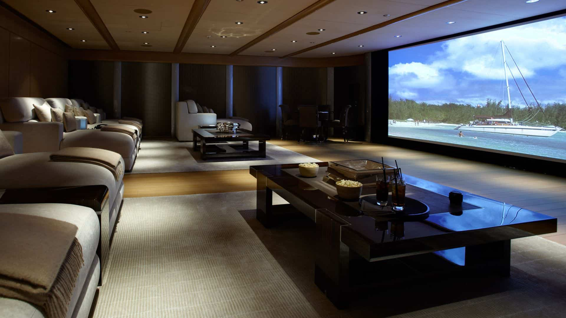 Large basement home theater