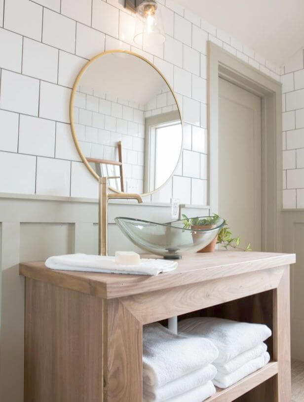 Stunning Greige Vanity with Vessel Sink
