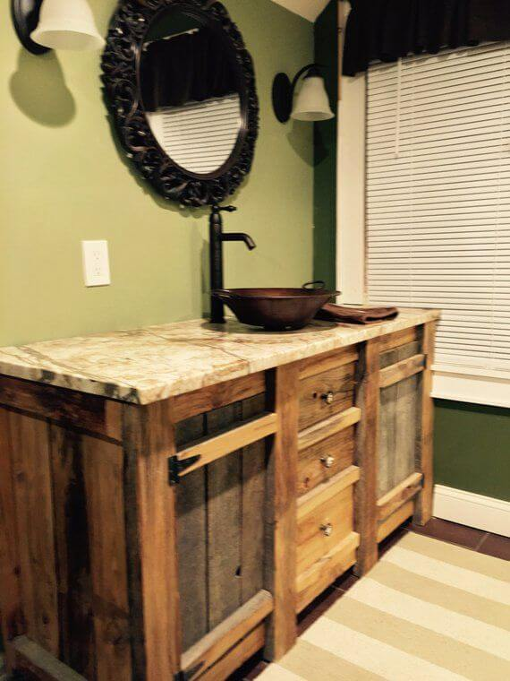Rustic Barnwood Vanity for master bathroom