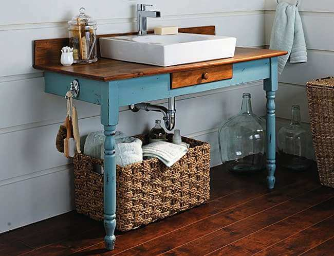 Life-changing upcycled bathroom vanity from desk