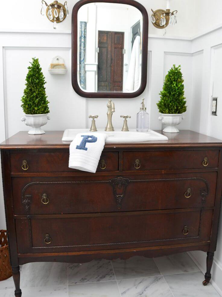 Brown Vintage Dresser Bathroom Vanity