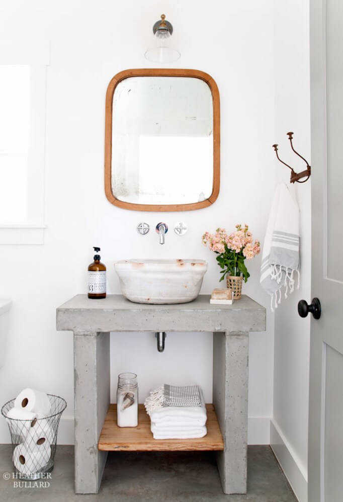 Concrete Vanity with Vessel Sink
