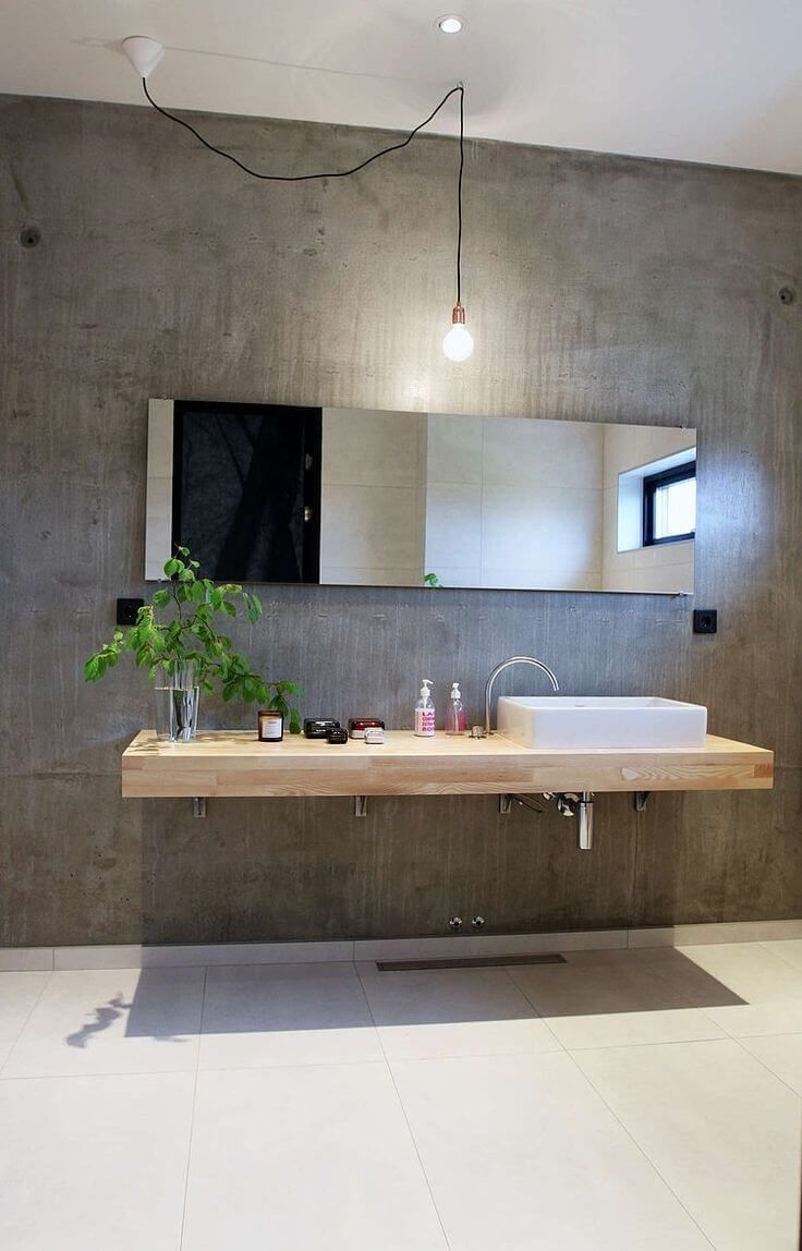 Fantastic concrete Bathroom with Wood Vanity