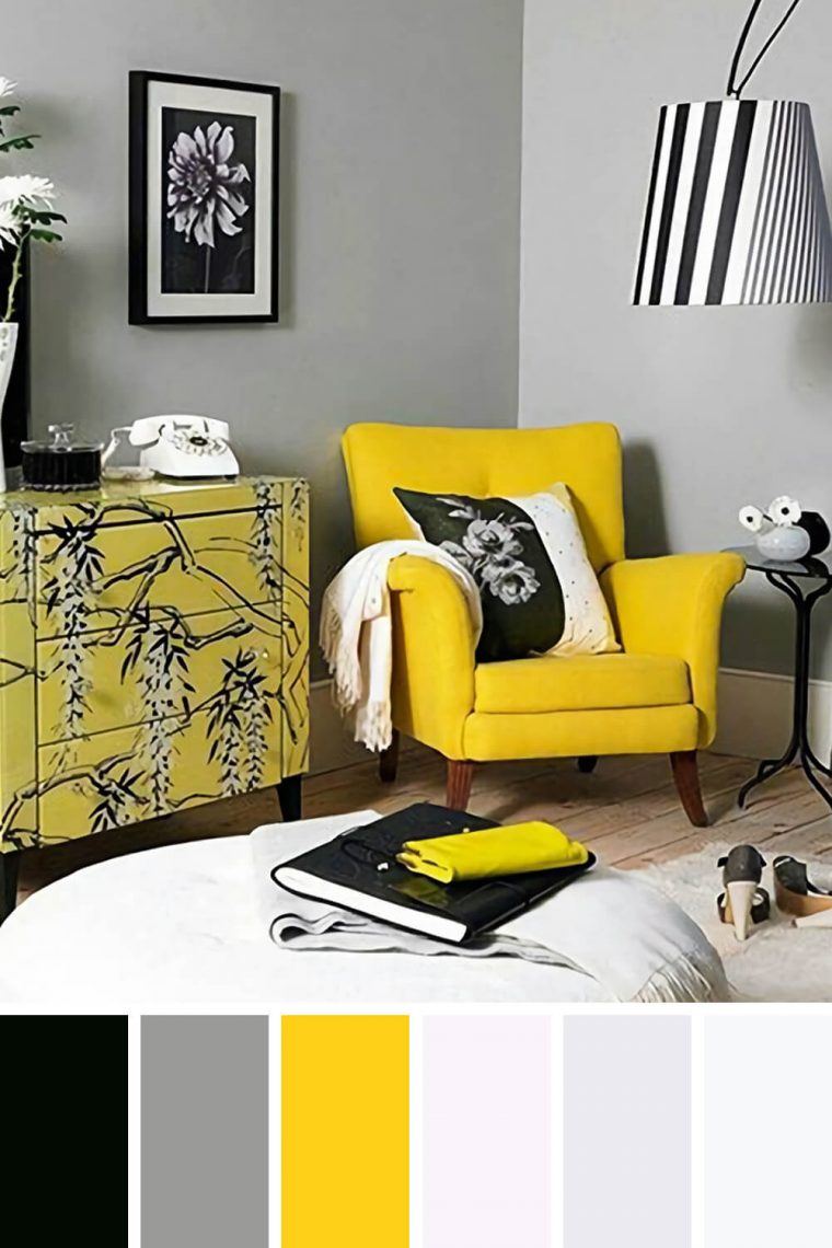 Yellow couch living room
