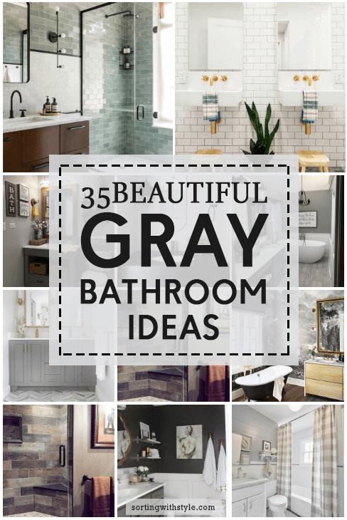 35 Beautiful Gray Bathroom Decor and Paint Color Ideas #Gray #Bathroom #Masterbathroomideas #Bathroomtileideas