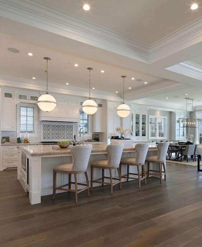 Extra Large Kitchen Island with 3 perfect pendants