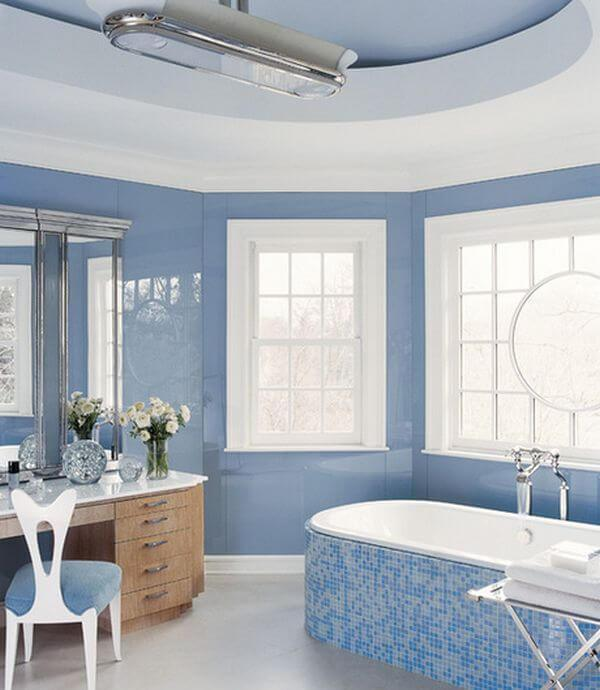 Coastal Blue and White color bathroom