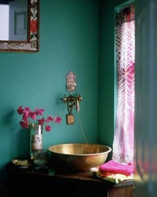 Turquoise, Pink, and Gold Bathroom color ideas