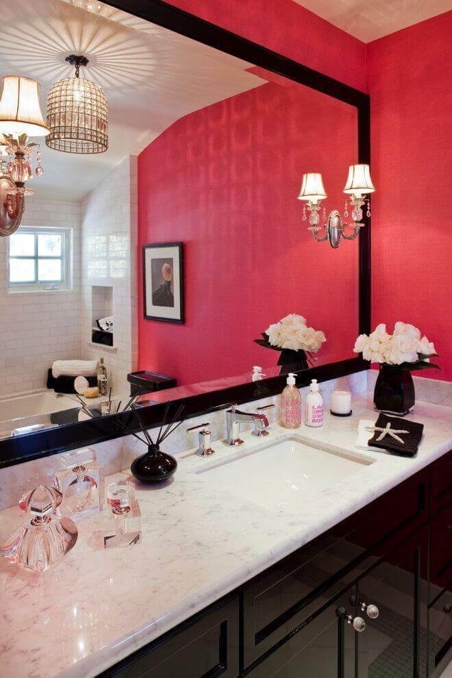 Pink, White, and Black bathroom