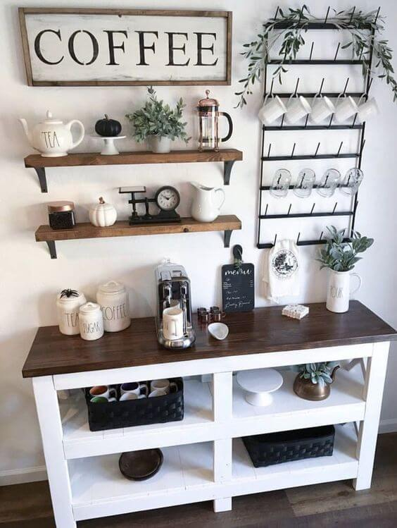 Epic diy coffee bar build with mug holder