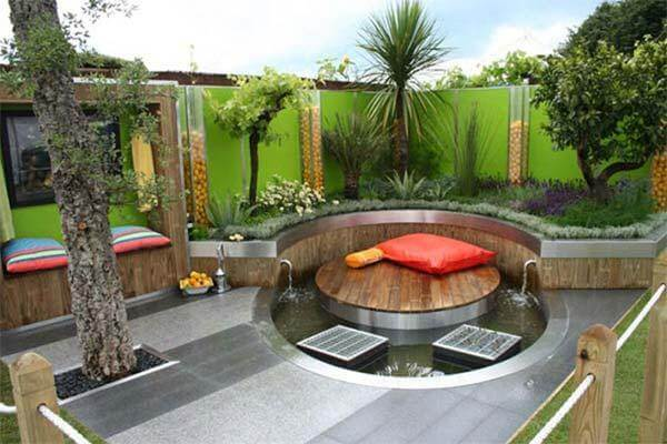 futuristic small backyard landscaping with the circle pool