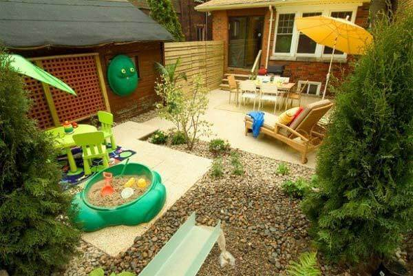 playfull small yard for kids