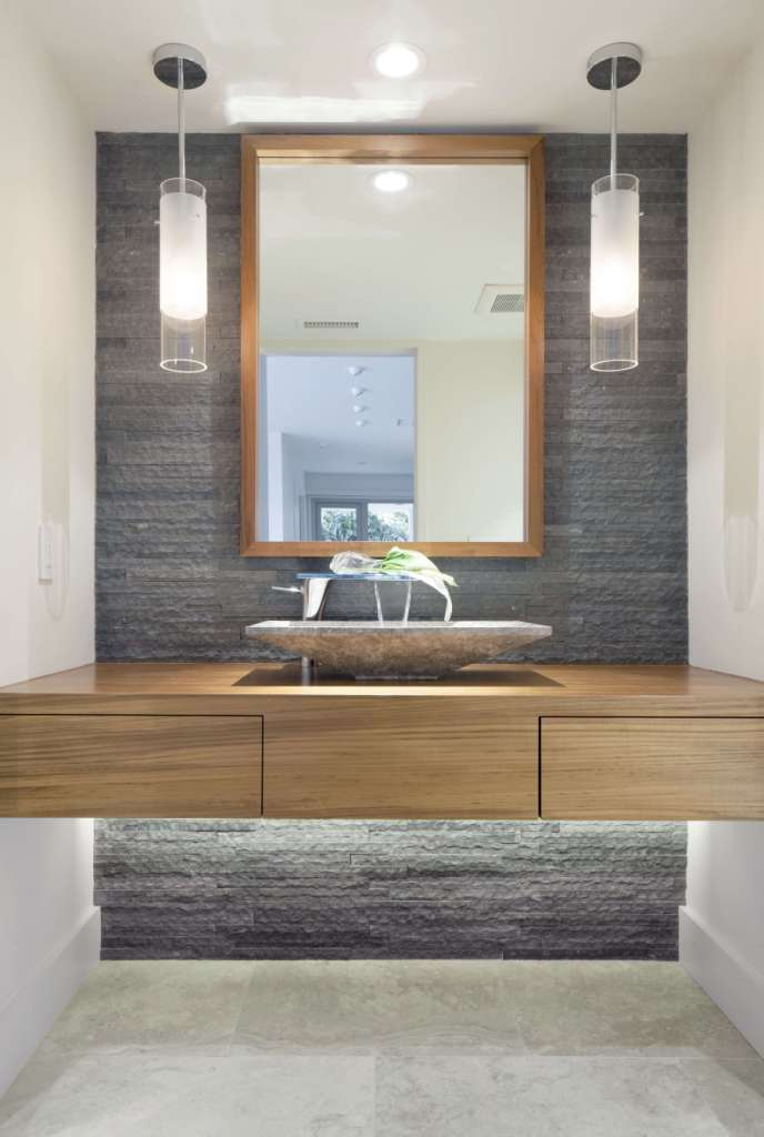 Wonderful Design bathroom shelf below mirror best of a modern bathroom with natural stone accent wall and pendant lights of bathroom shelf below mirror