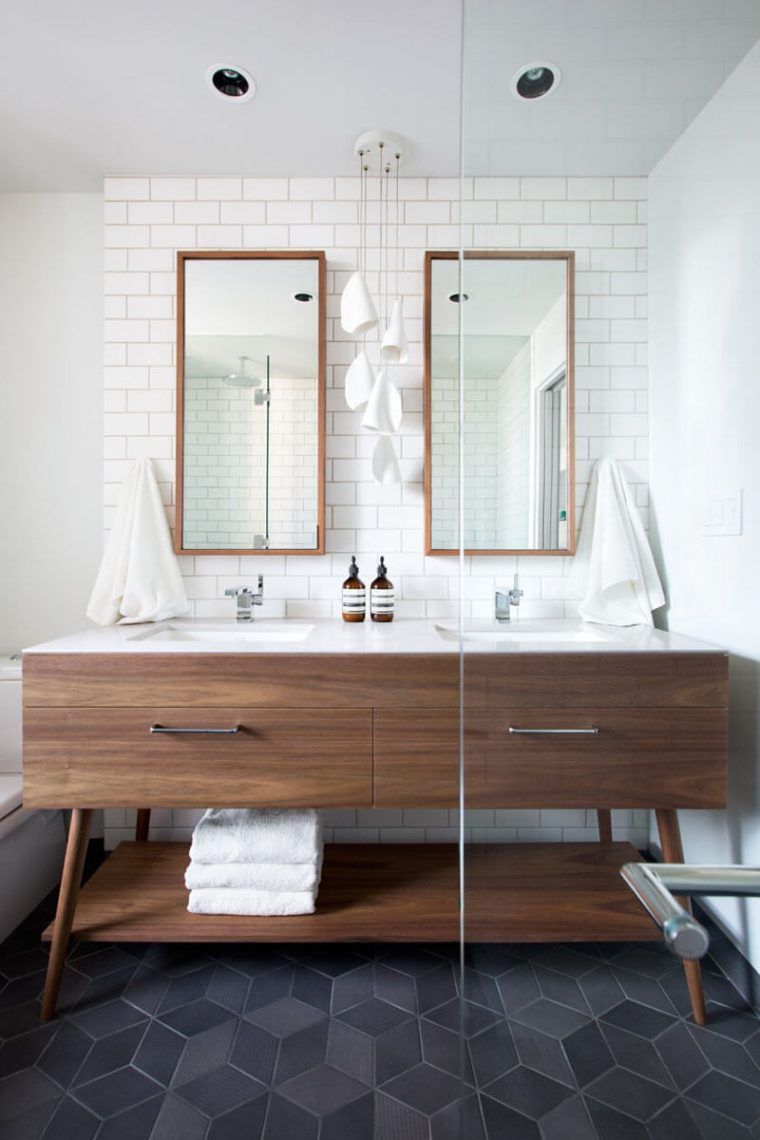 Striking Hexagonal Floor rectangular bathroom mirrors
