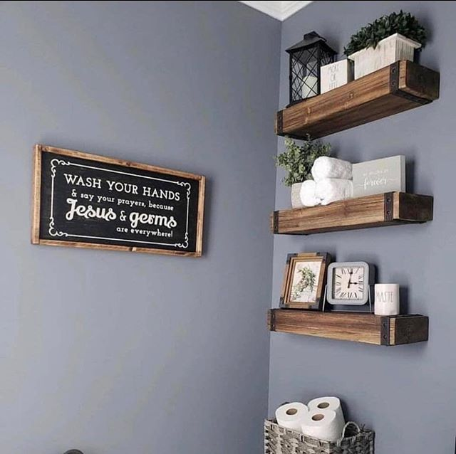 Easy Rural Bathroom Shelves