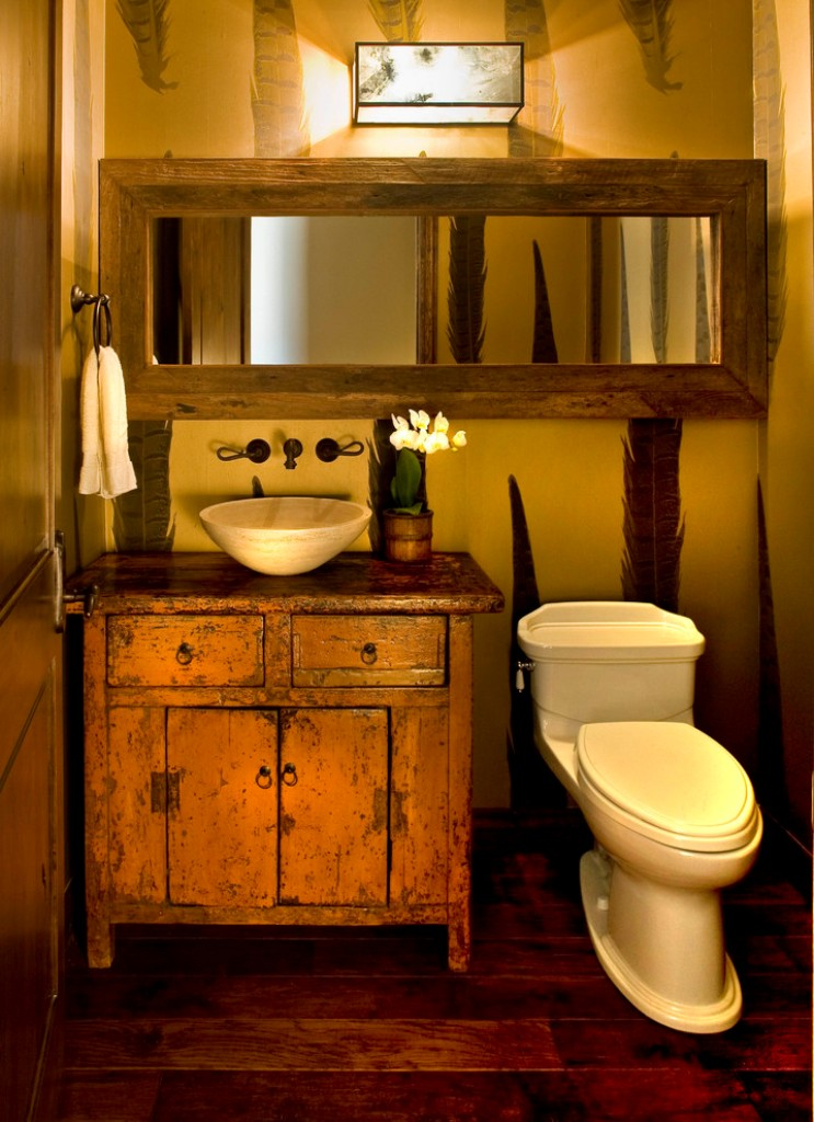 Tiny rustic powder room