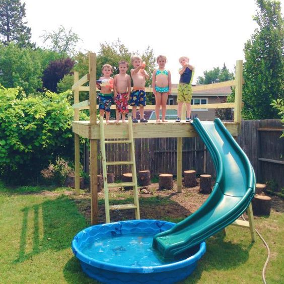 Backyard pool with slide for kids