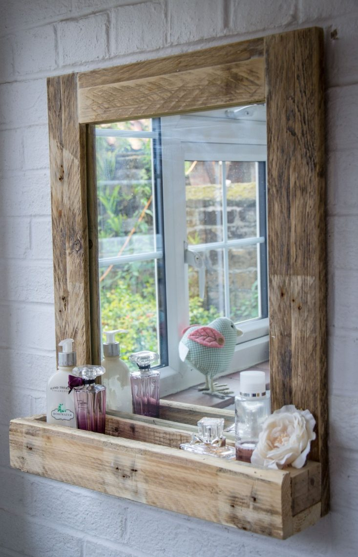 rustic wooden bathroom mirror