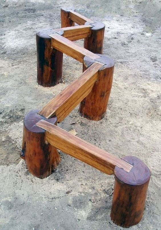Wooden Balance Beam - simple backyard playground ideas