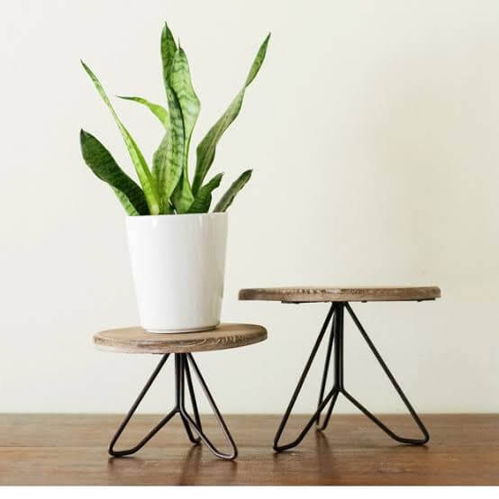 wood and metal mixed plant stand