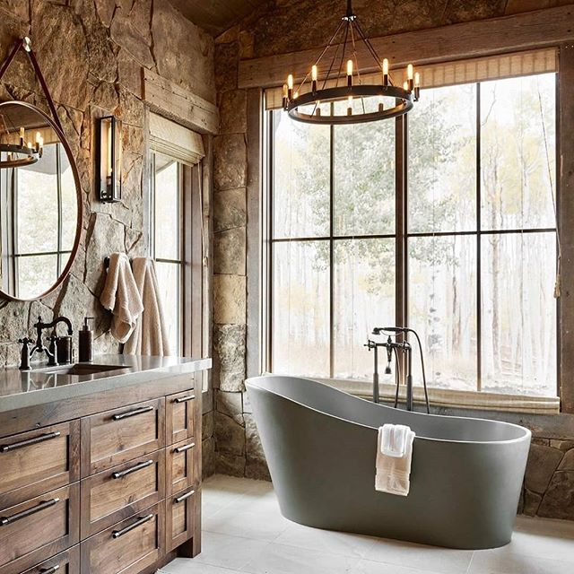 Pastoral Bathroom with Grey Bathtub