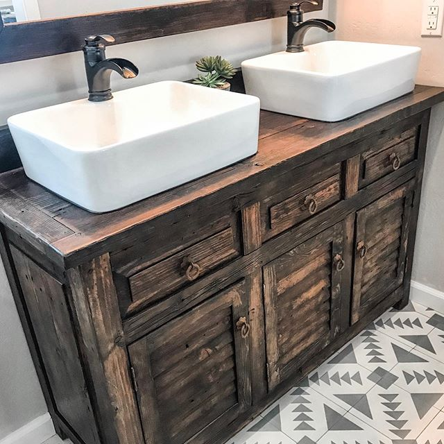 rustic bathroom vanity with double sinks