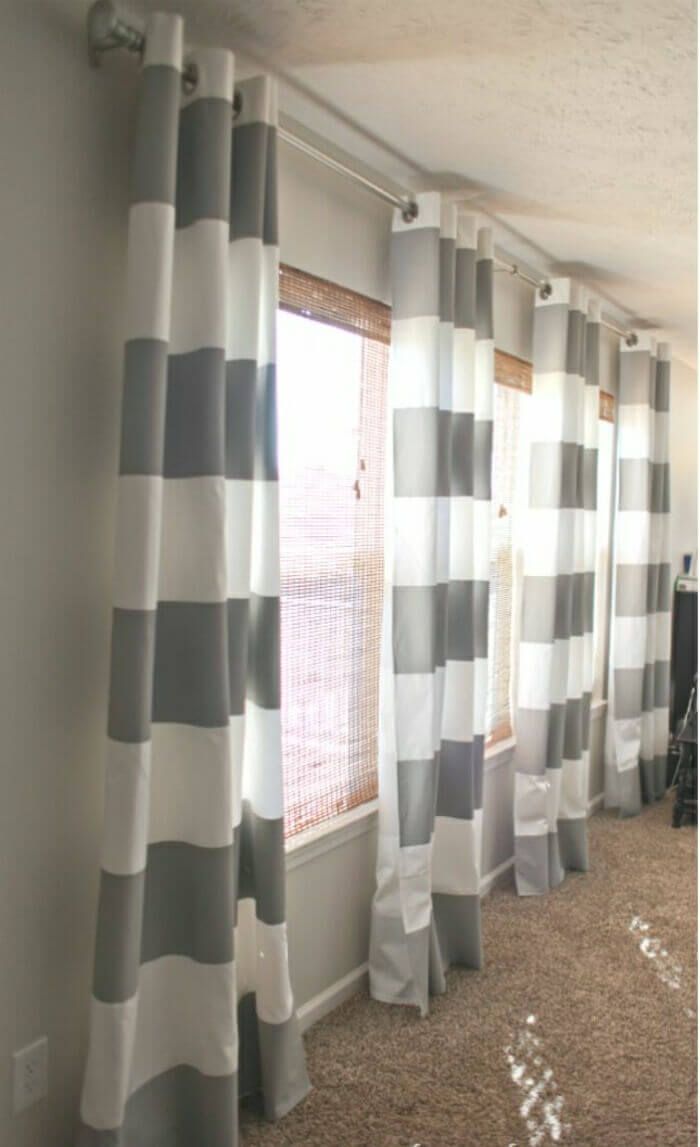 Long Curtain with Bold Stripes