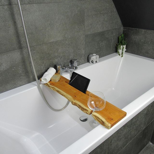 Rustic bathroom decor - bathtub tray for gadget storage