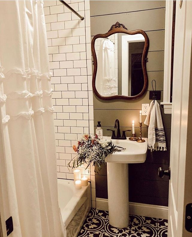 tiny rustic modern bathroom mirror and vanity