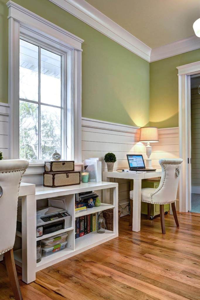 Home Office with Green Walls and Costal style Wainscoting