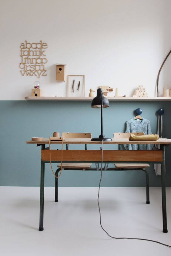 Two tone blue home office
