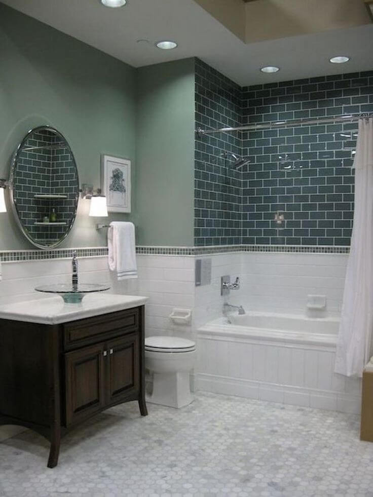 gray and green bathroom