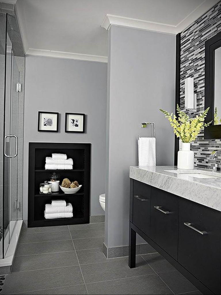 Gray and Black color combinations for bathroom