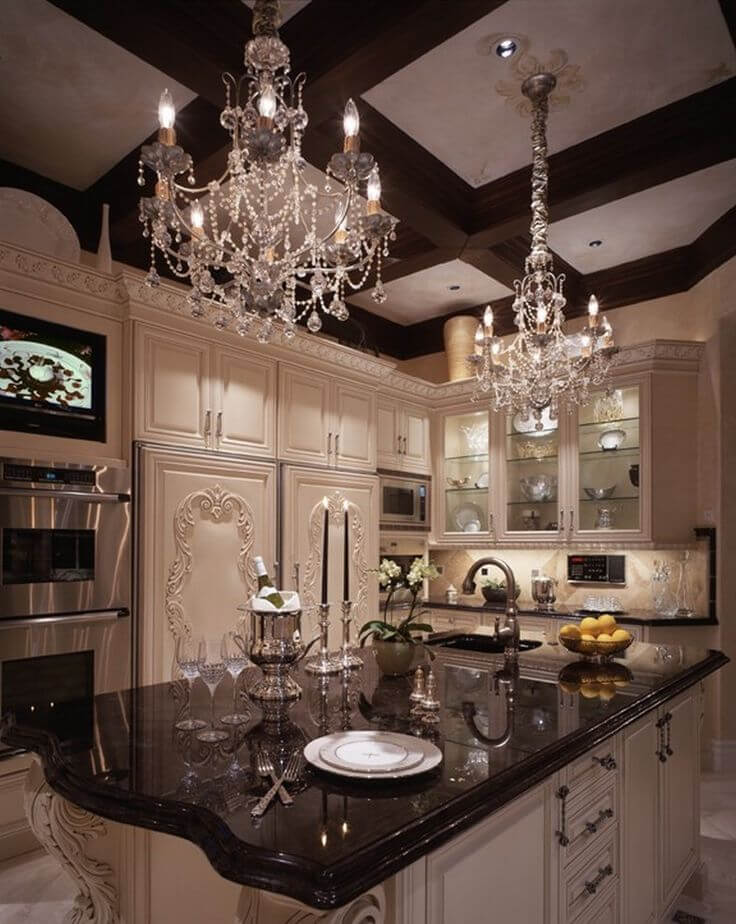 Glamourous chandelier for kitchen