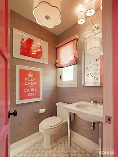 Cute pink bathroom decorations