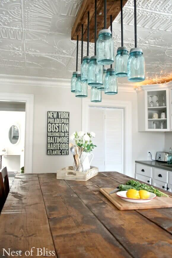 Amazing DIY mason jar chandelier for farmhouse kitchen lighting