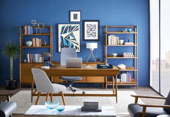 Mid Century Modern Blue Home Office for Increase Productivity
