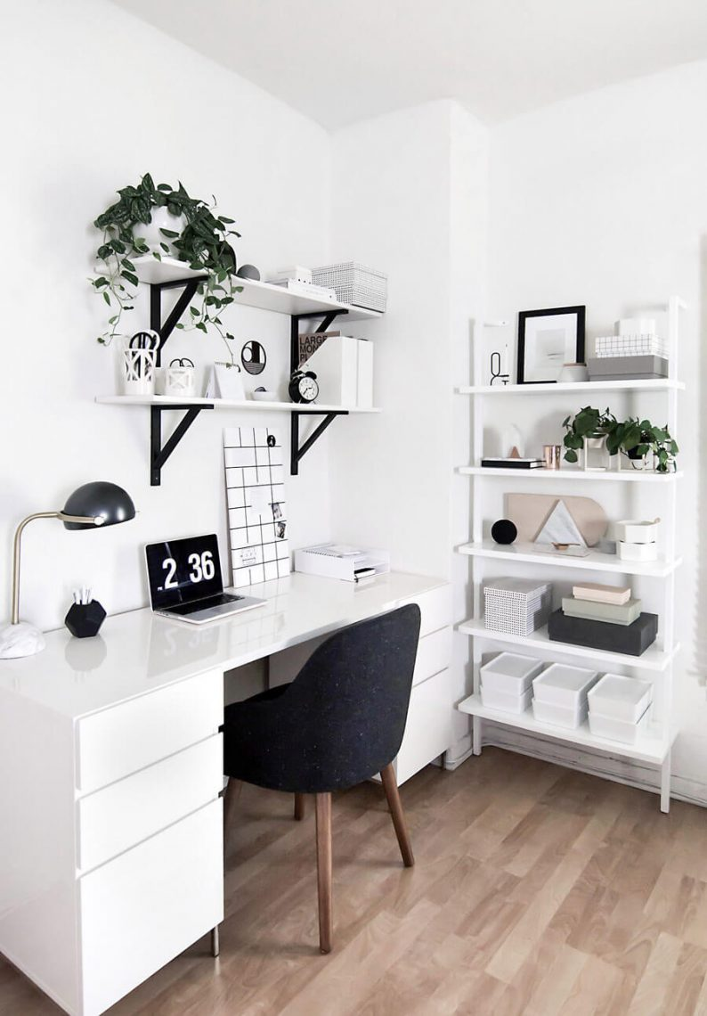 Promote Focus with White Home Office Paint Color Ideas