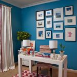 Chic blue red home office