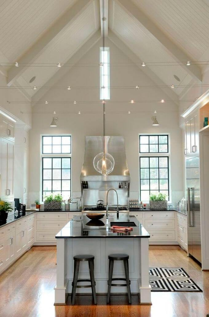 Modern kitchen lighting for high vaulted ceiling