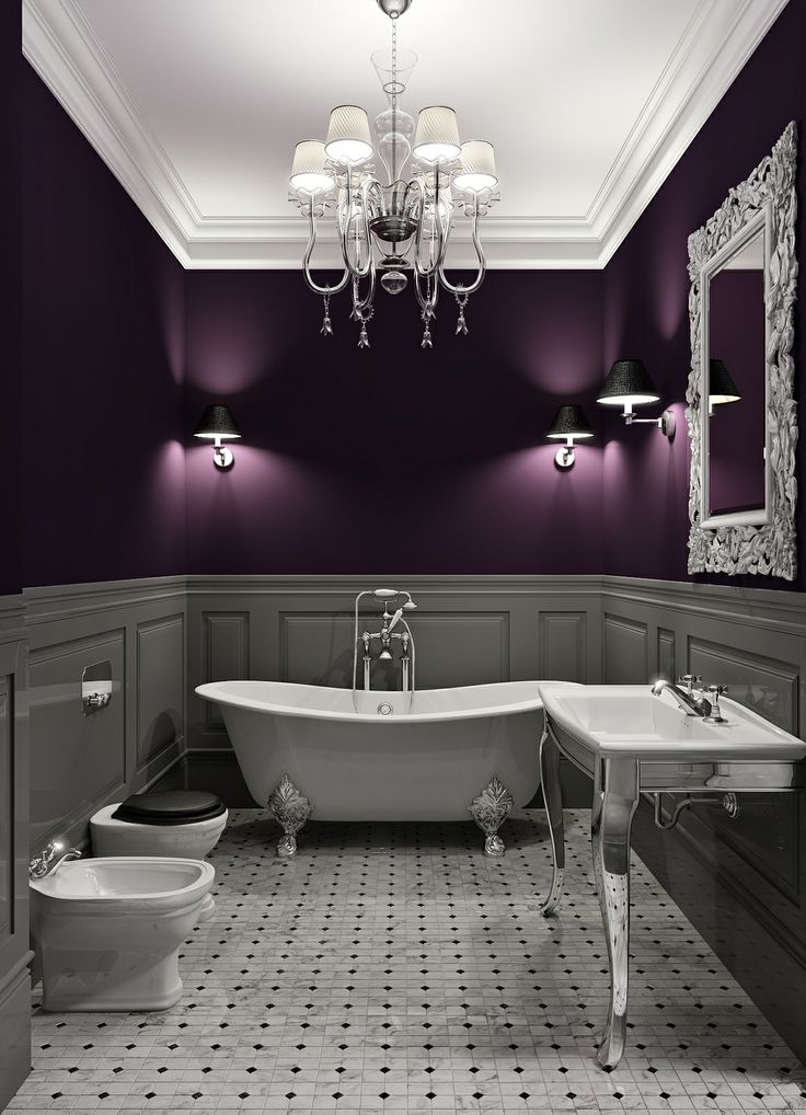 Breathtaking gray and purple bathroom