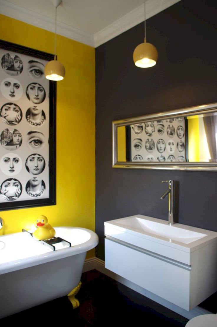 Cozy yellow paint colors for gray bathroom