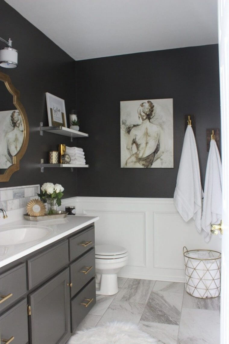 Gray master bathroom wall art