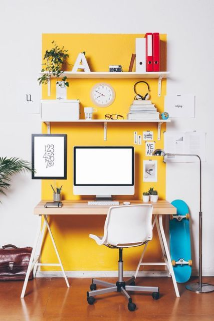Funky Yellow Accent Home Office