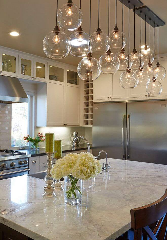 Beautiful Halogen lightings over kitchen island