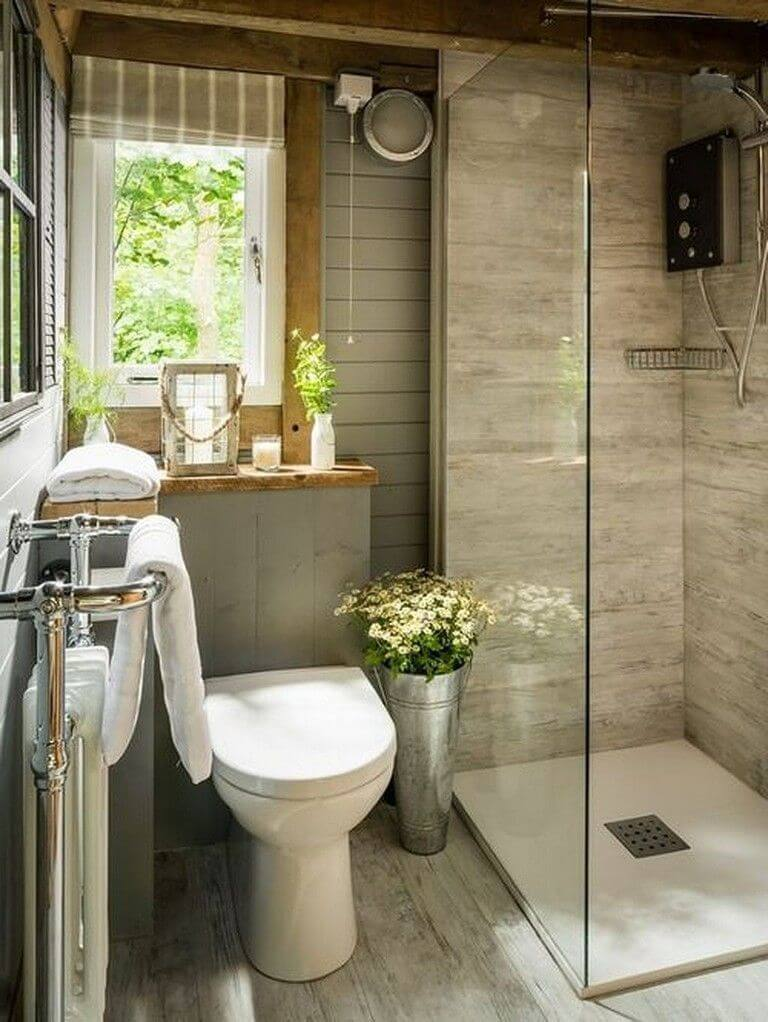 Gray Bathroom with Rustic Affair
