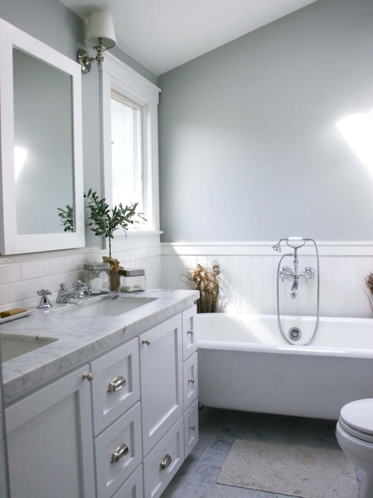 Grey Bathroom With White Wainscoting - White and Gray Bathroom