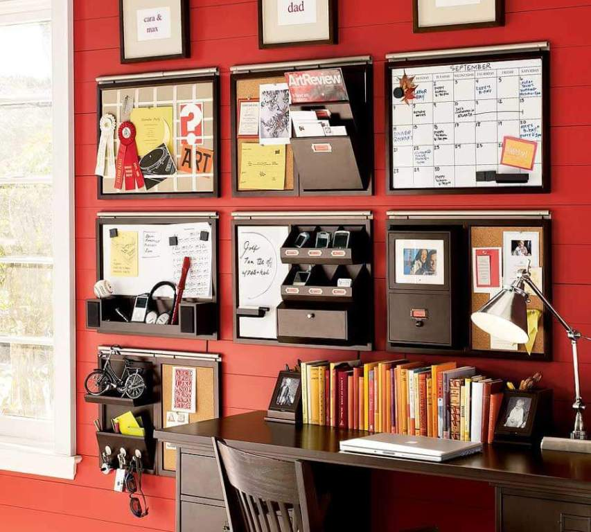 Red home office with organizers